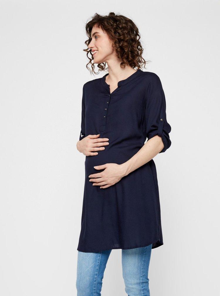 Tmavě modrá těhotenská dlouhá halenka Mama.licious