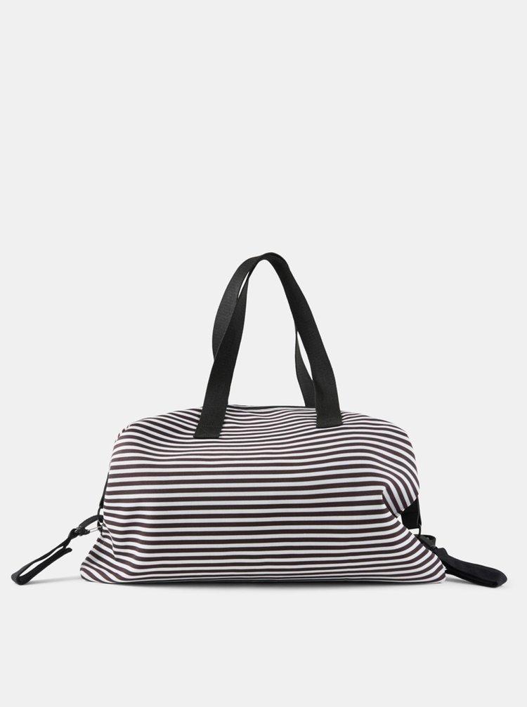 Bílo-černá pruhovaná přebalovací taška Mama.licious