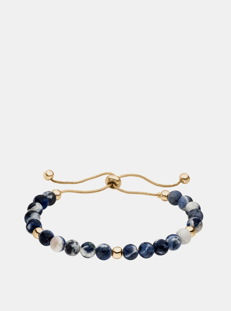Náramok s korálkami v modrej a zlatej farbe Tamaris