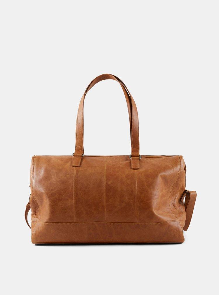 Hnědá kožená přebalovací taška Mama.licious