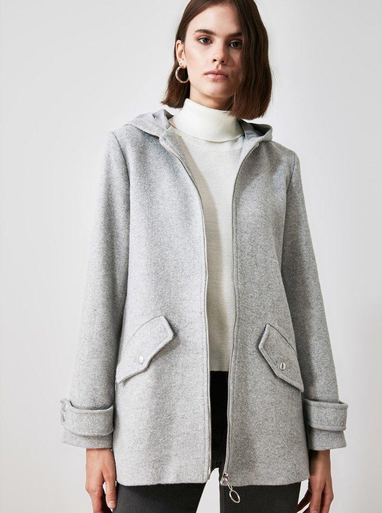 Světle šedý dámský kabát s kapucí Trendyol