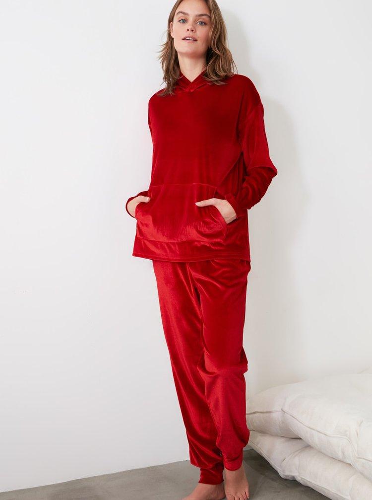 Červené dámske pyžamo Trendyol
