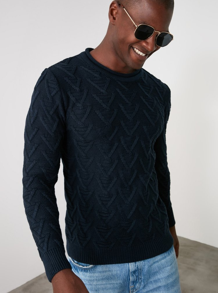 Tmavomodrý pánsky sveter Trendyol
