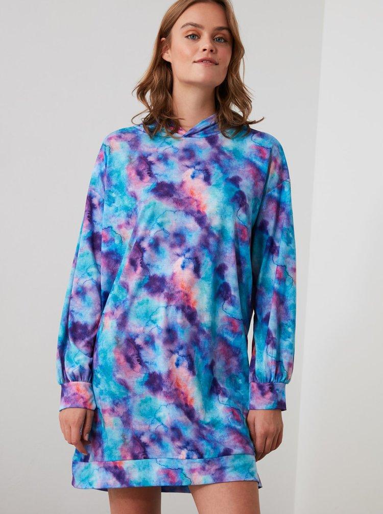 Modré vzorované mikinové šaty Trendyol