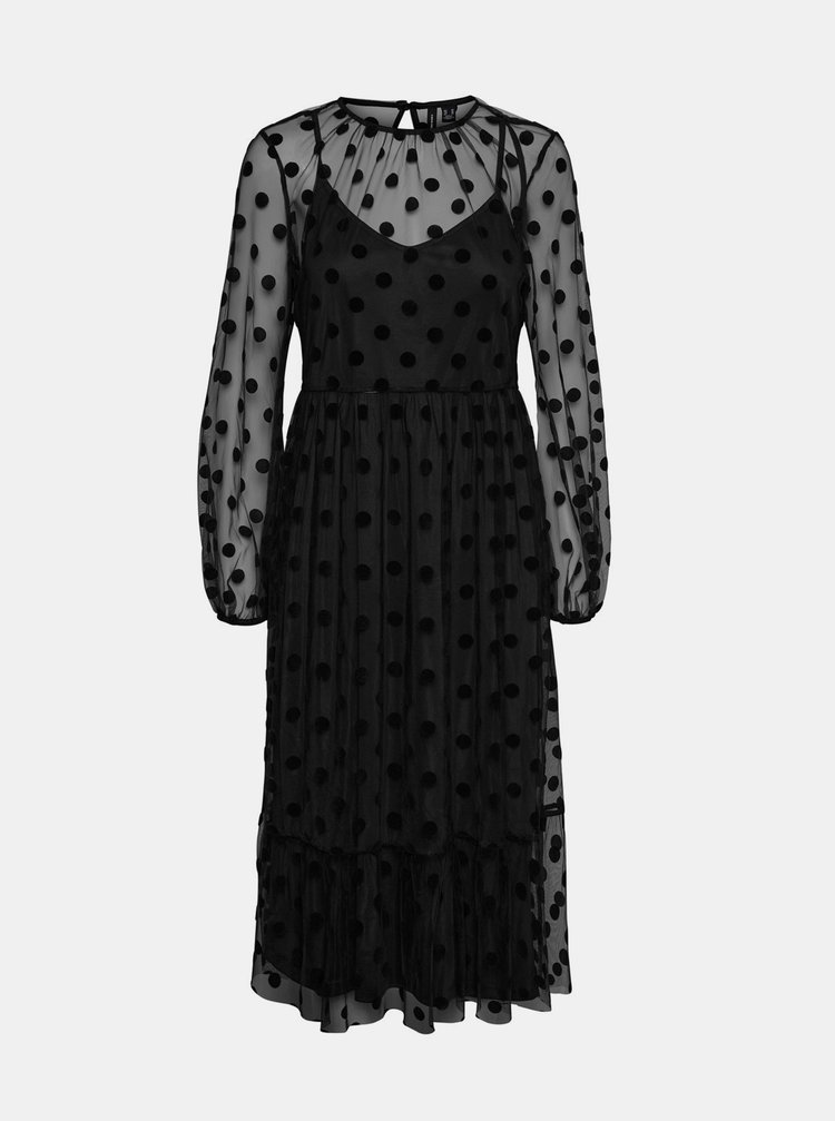 Čierne šaty s priesvitnými rukávmi VERO MODA Augusta