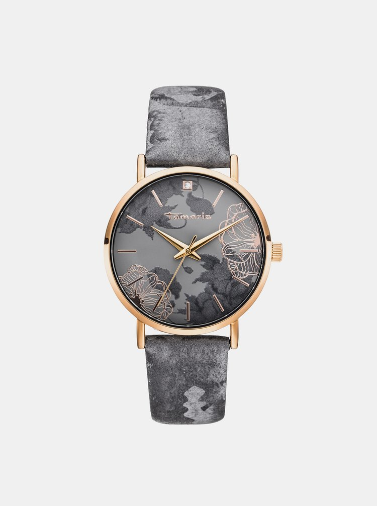 Dámské hodinky s šedým páskem Tamaris