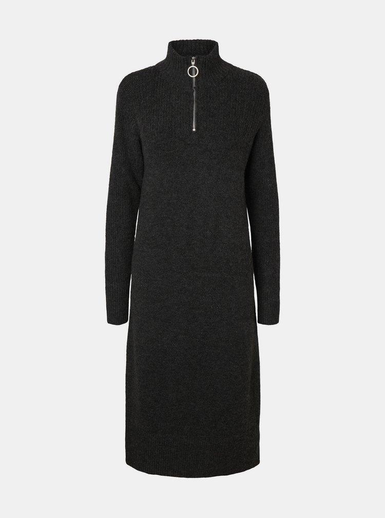 Tmavě šedé svetrové šaty Noisy May Dominic