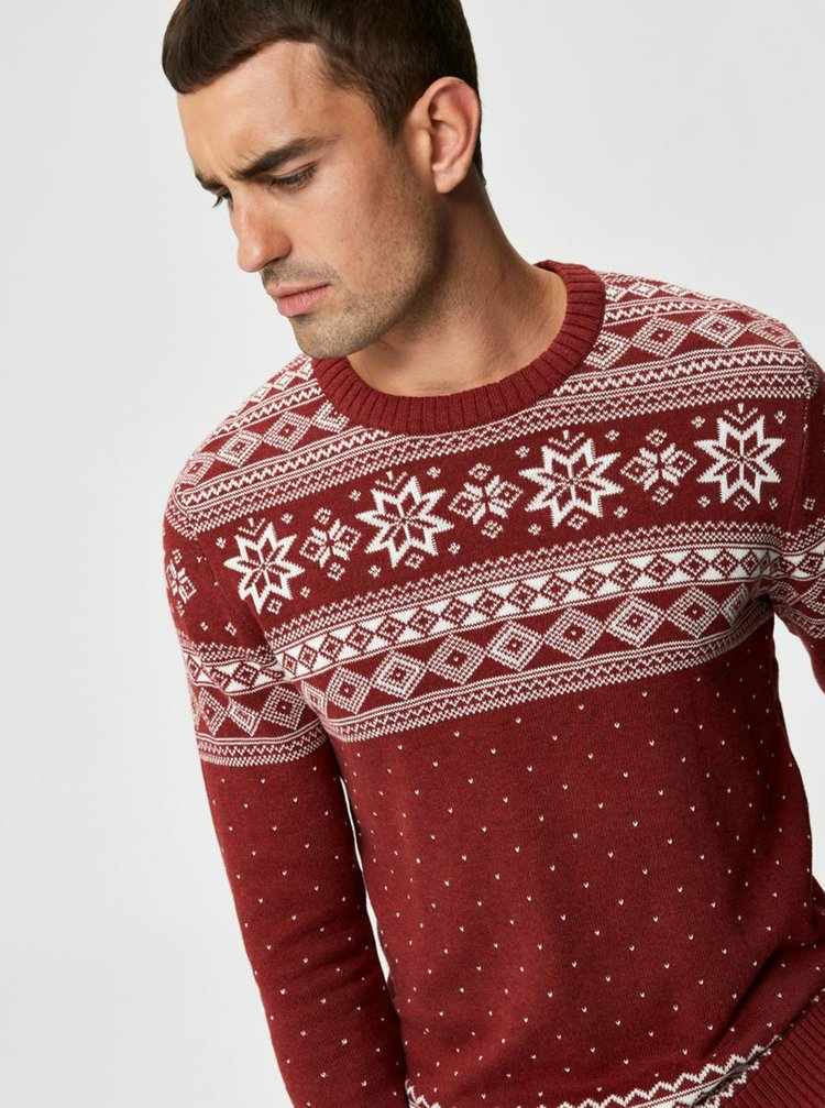 Červený sveter s vianočným motívom Selected Homme