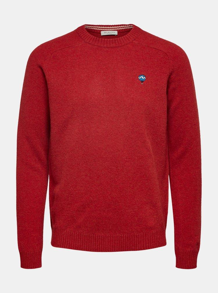 Červený vlnený sveter Selected Homme