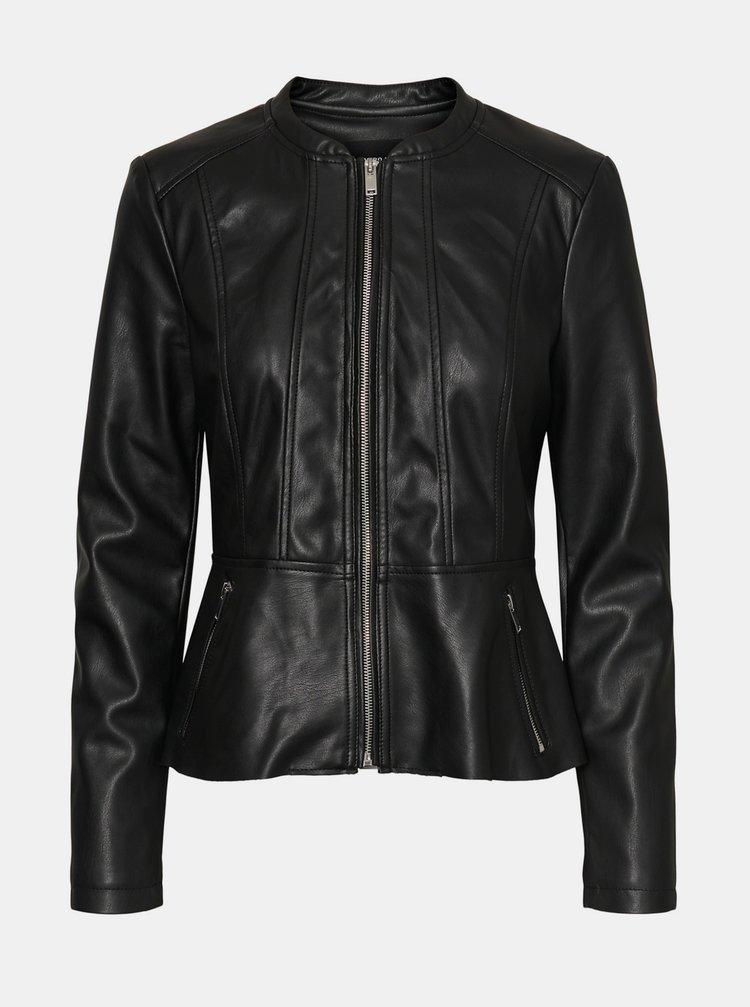 Čierna koženková bunda VERO MODA Butteralba
