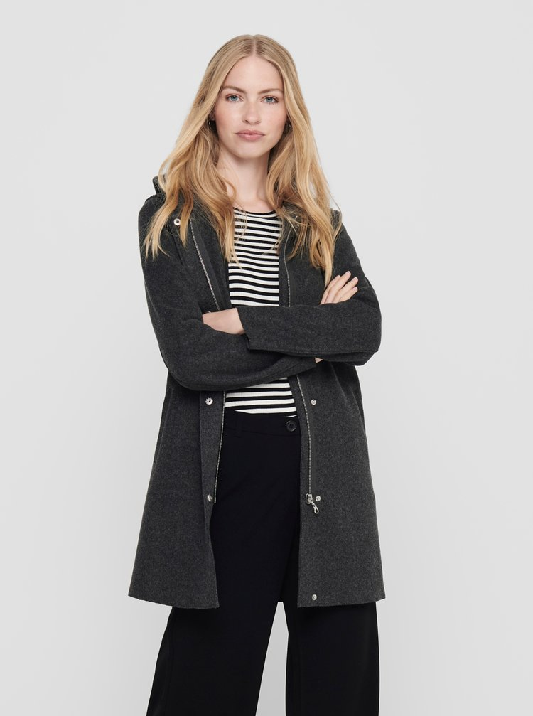 Tmavě šedý kabát s kapucí ONLY
