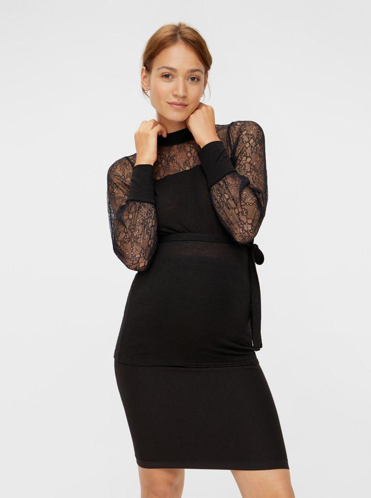 Černá těhotenská halenka s krajkou Mama.licious