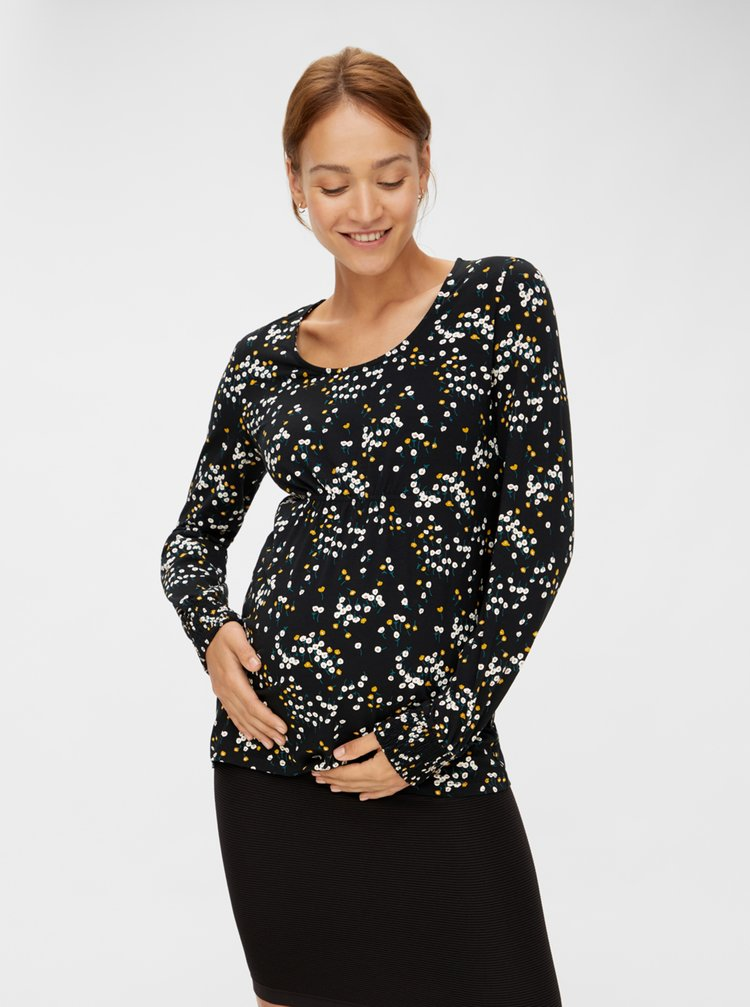 Čierne vzorované tehotenské tričko Mama.licious