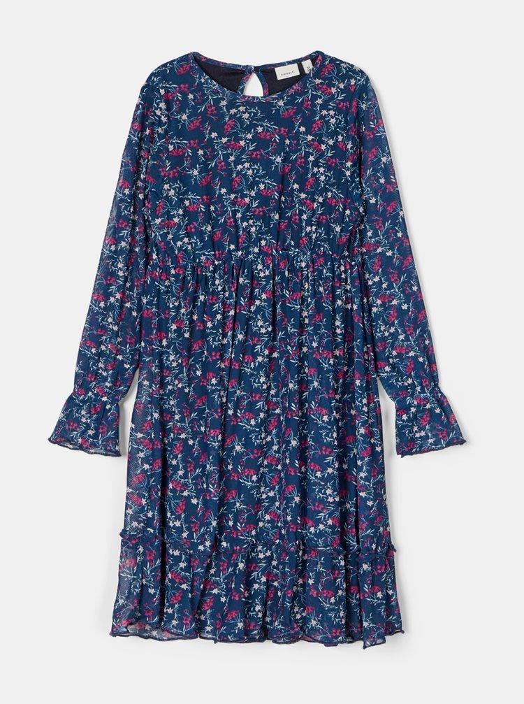 Modré holčičí květované šaty name it