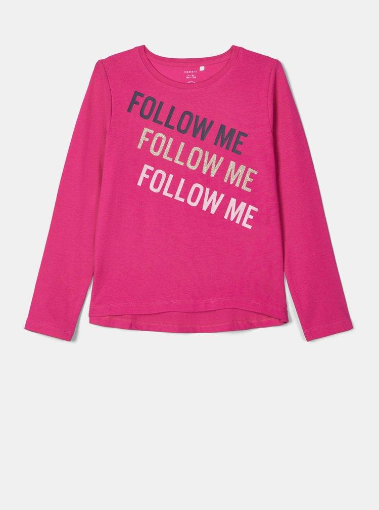 Ružové dievčenské tričko s potlačou name it