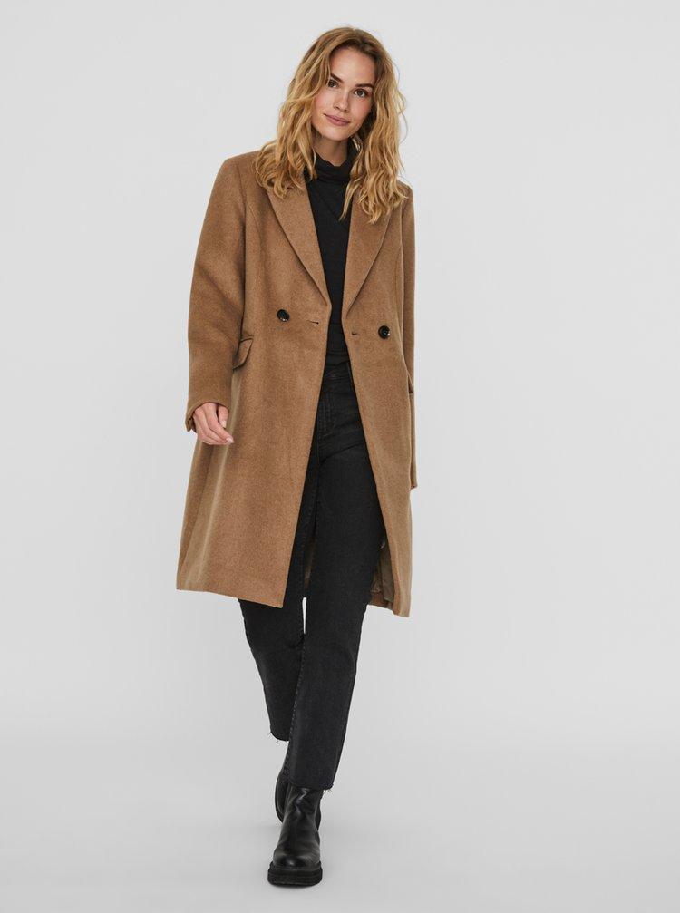 Hnědý vlněný kabát VERO MODA Noramille