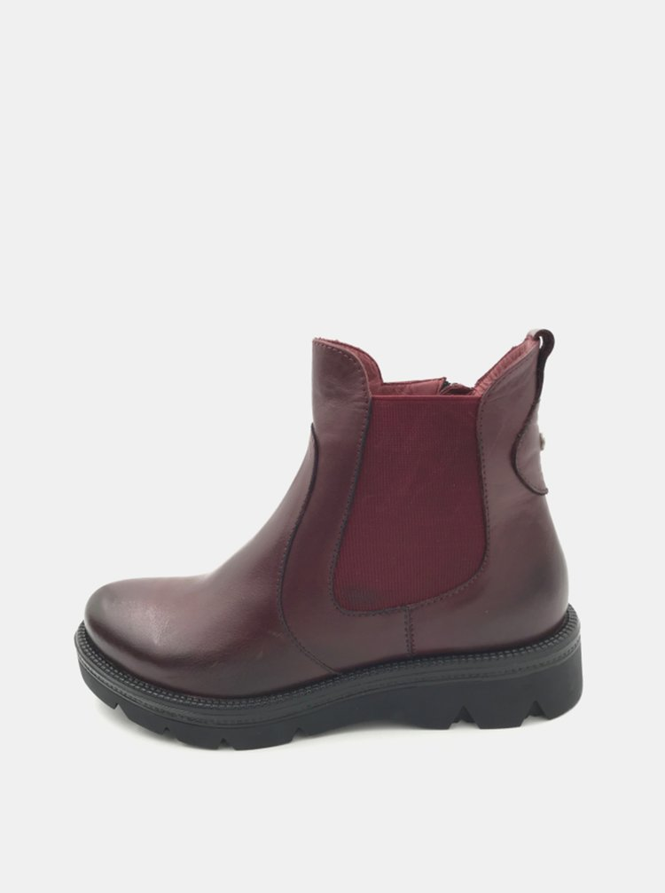 Vínové dámské kožené chelsea boty WILD