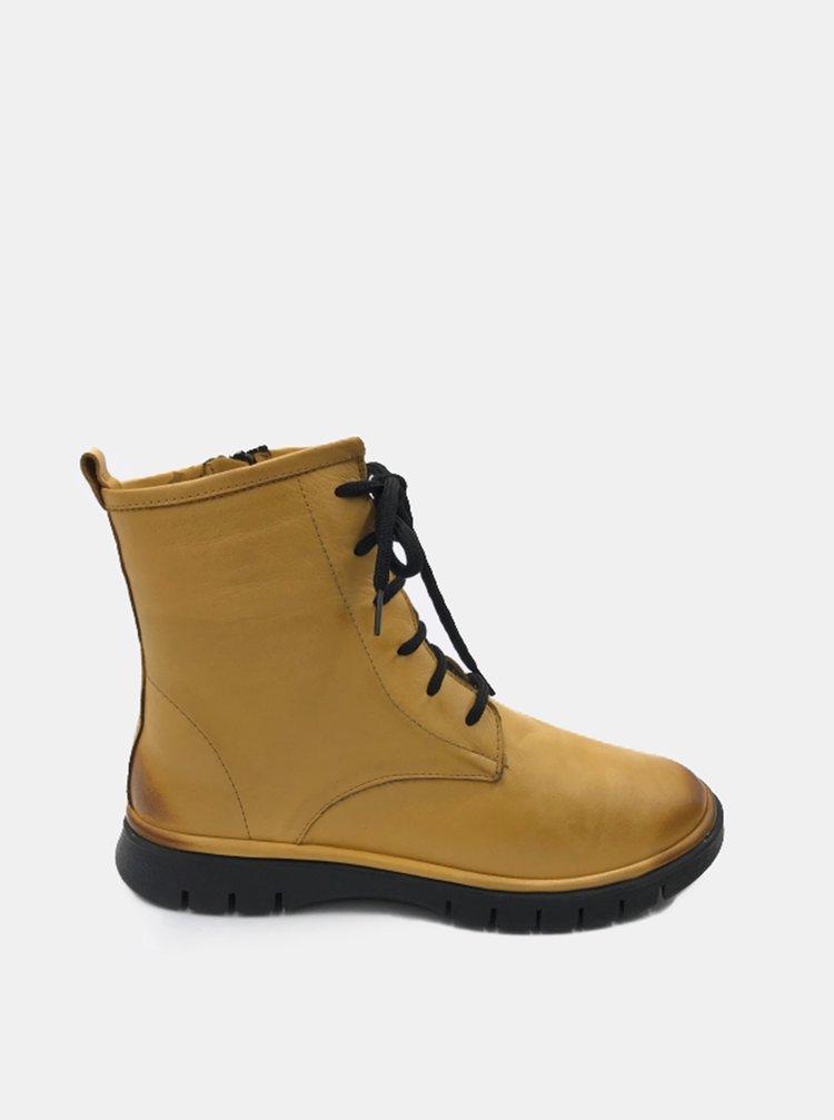 Žluté dámské kožené kotníkové boty WILD