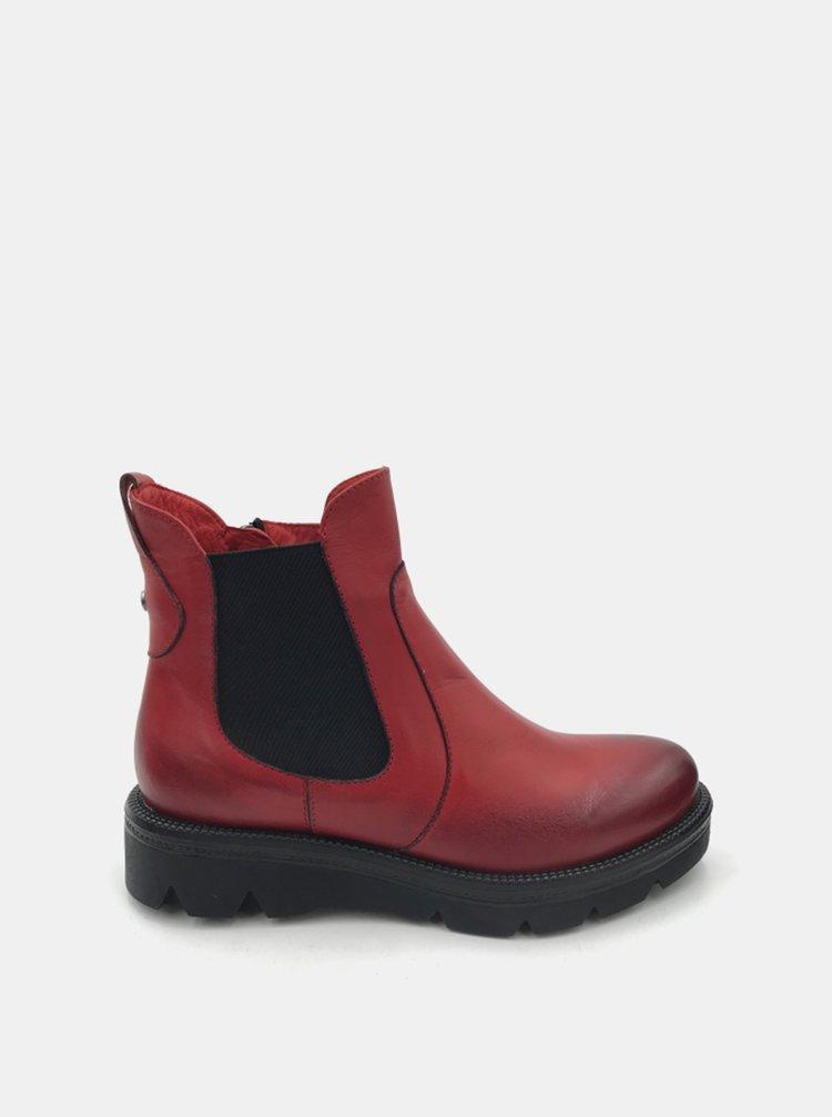 Červené dámské kožené chelsea boty WILD