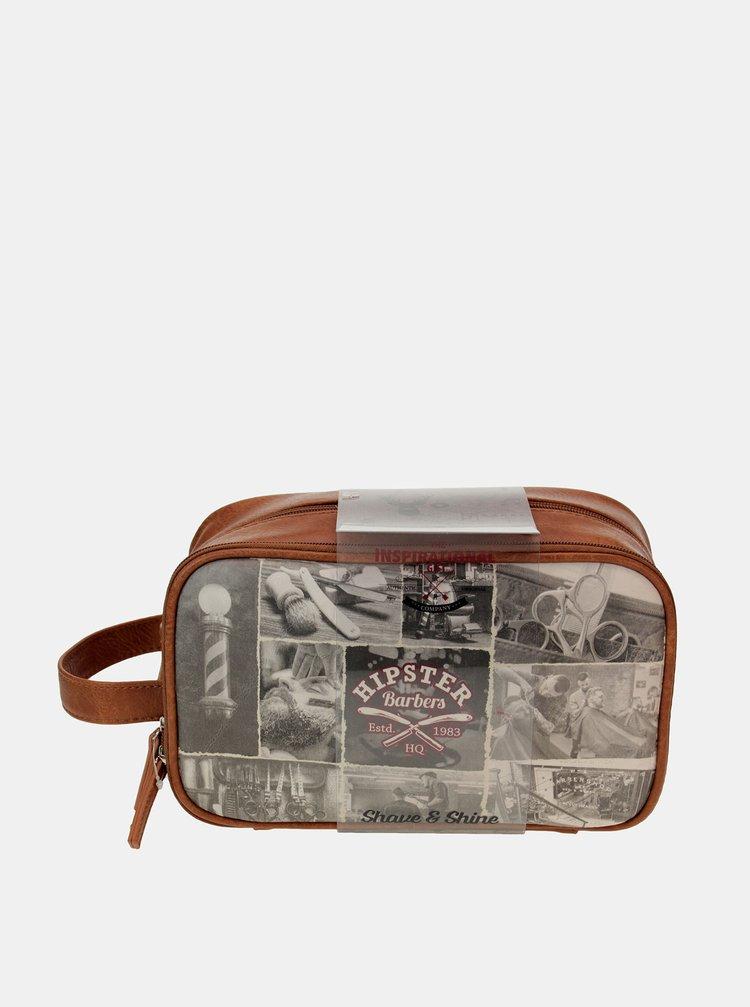 Hnědá pánská cestovní kosmetická taška Something Special