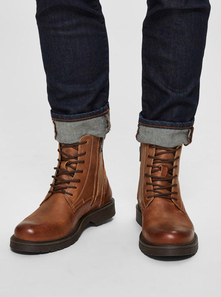 Hnedé kožené členkové topánky Selected Homme