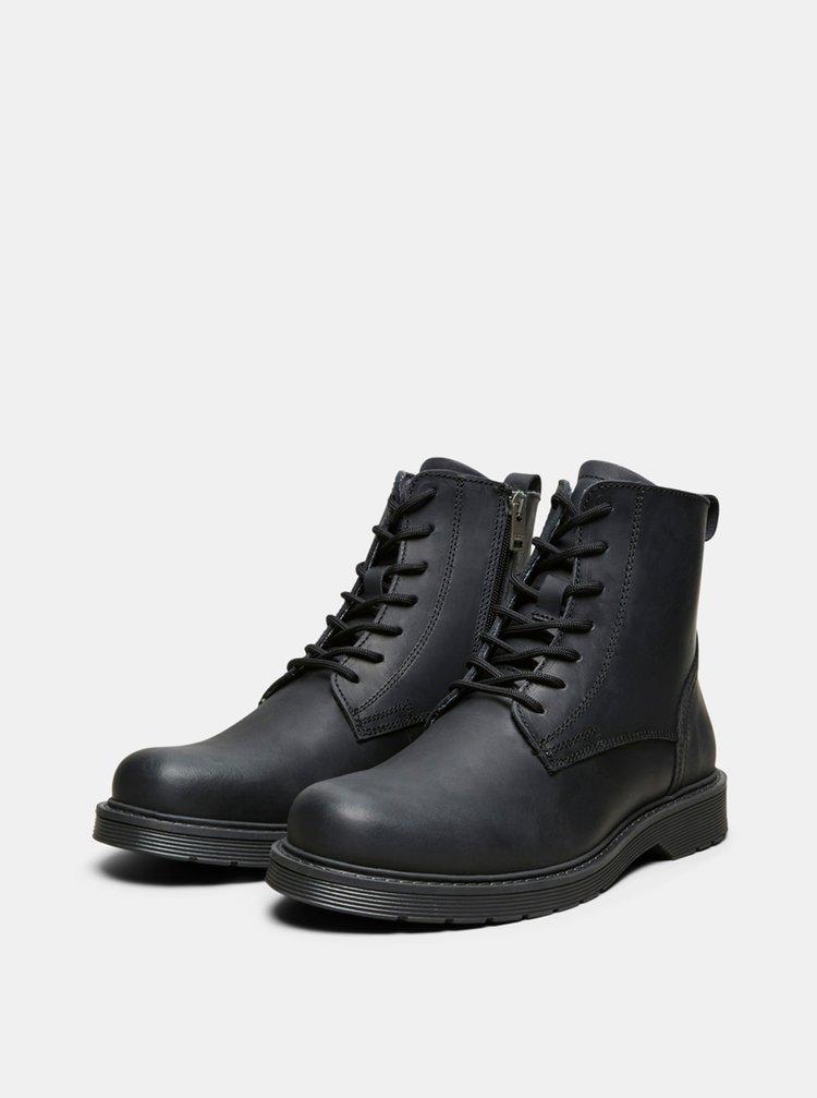 Černé kožené kotníkové boty Selected Homme