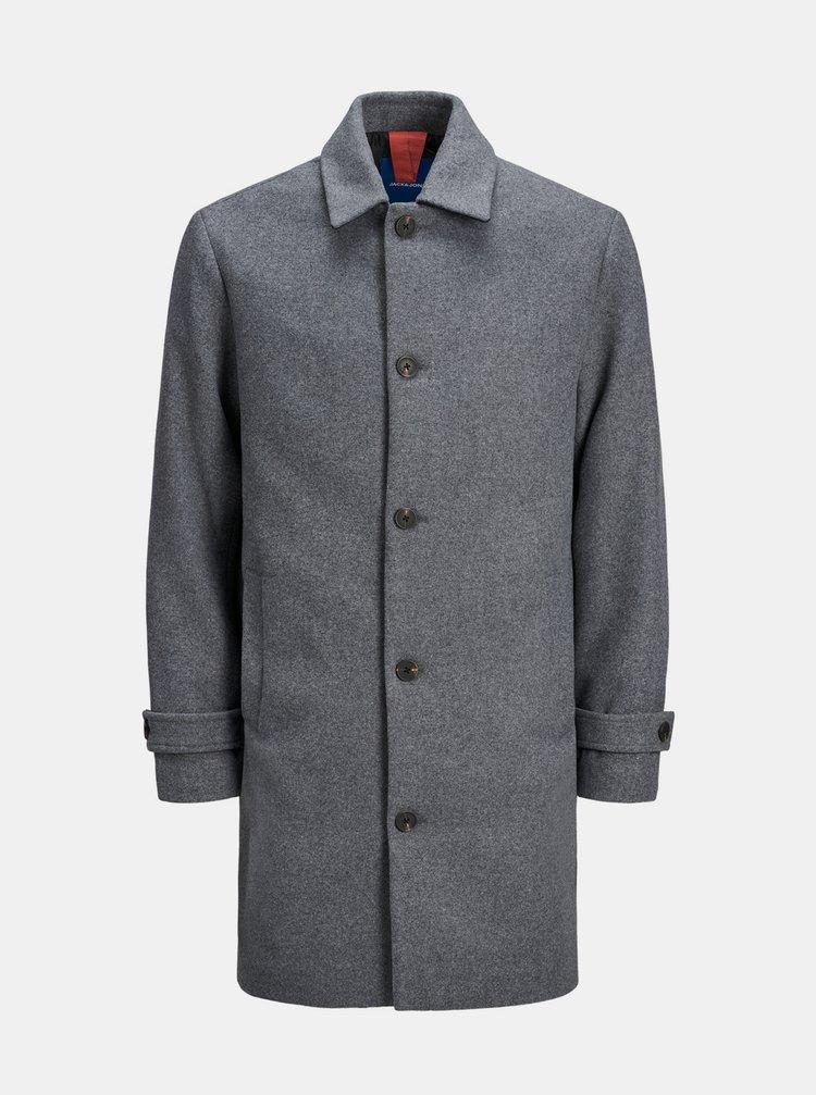 Šedý kabát s prímesou vlny Jack & Jones