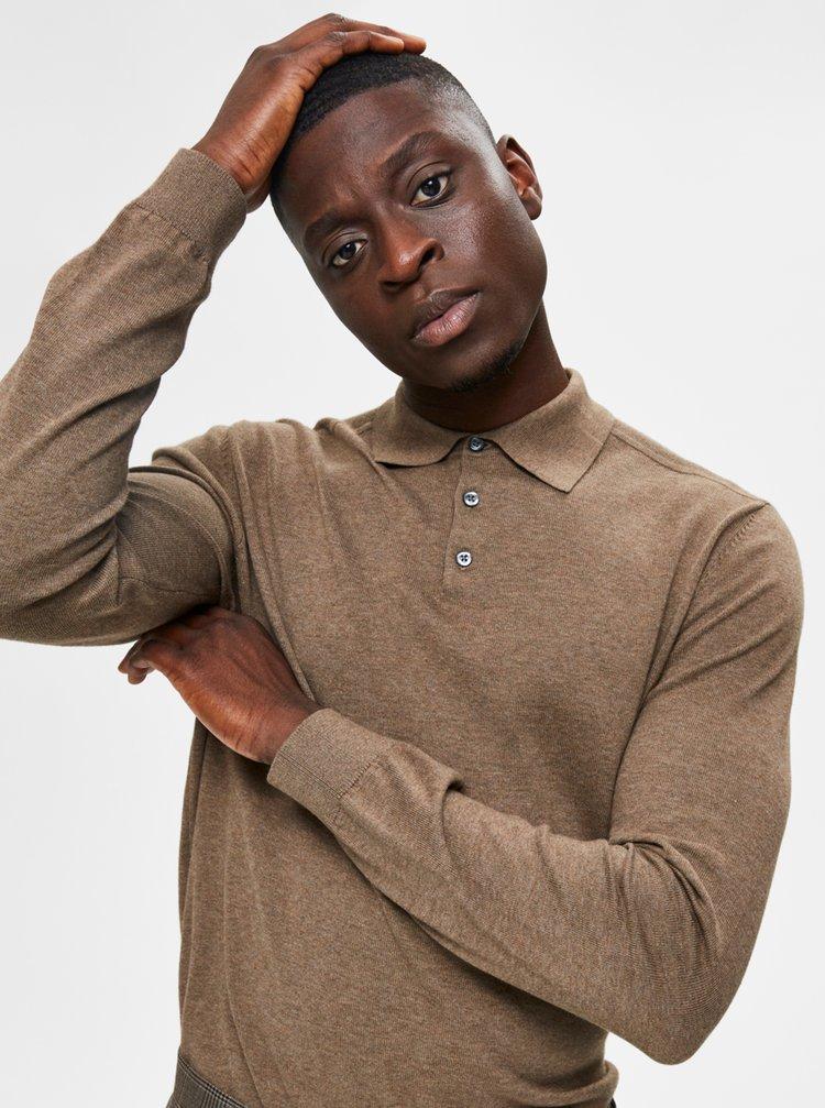 Hnědý svetr s límečkem Selected Homme