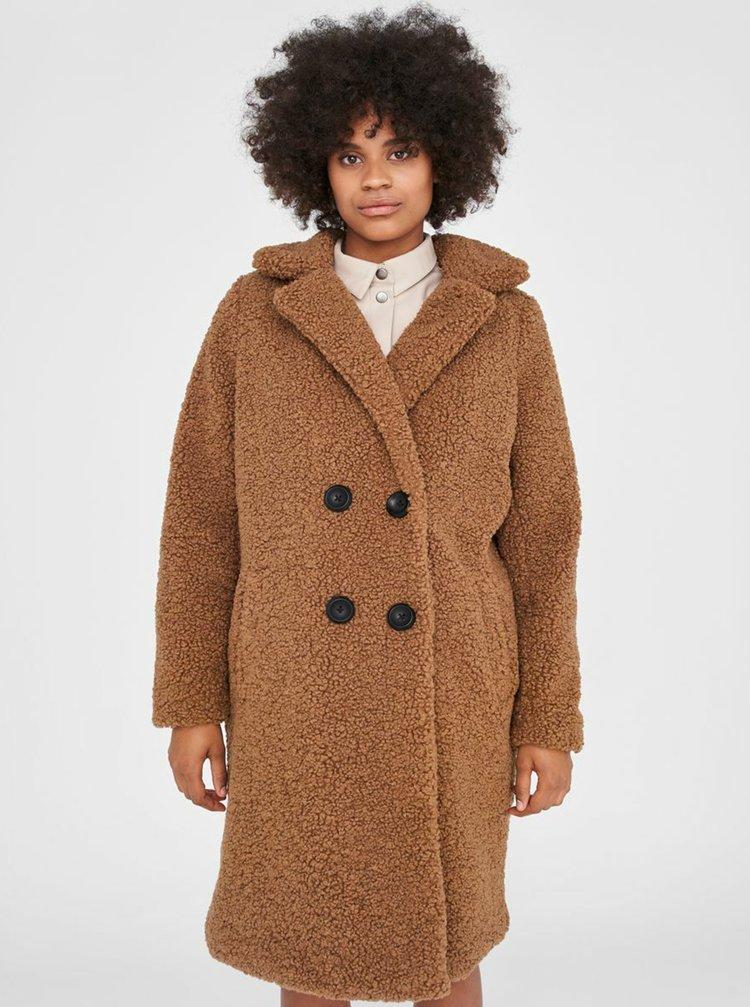 Hnědý kabát z umělého kožíšku Noisy May Gabi