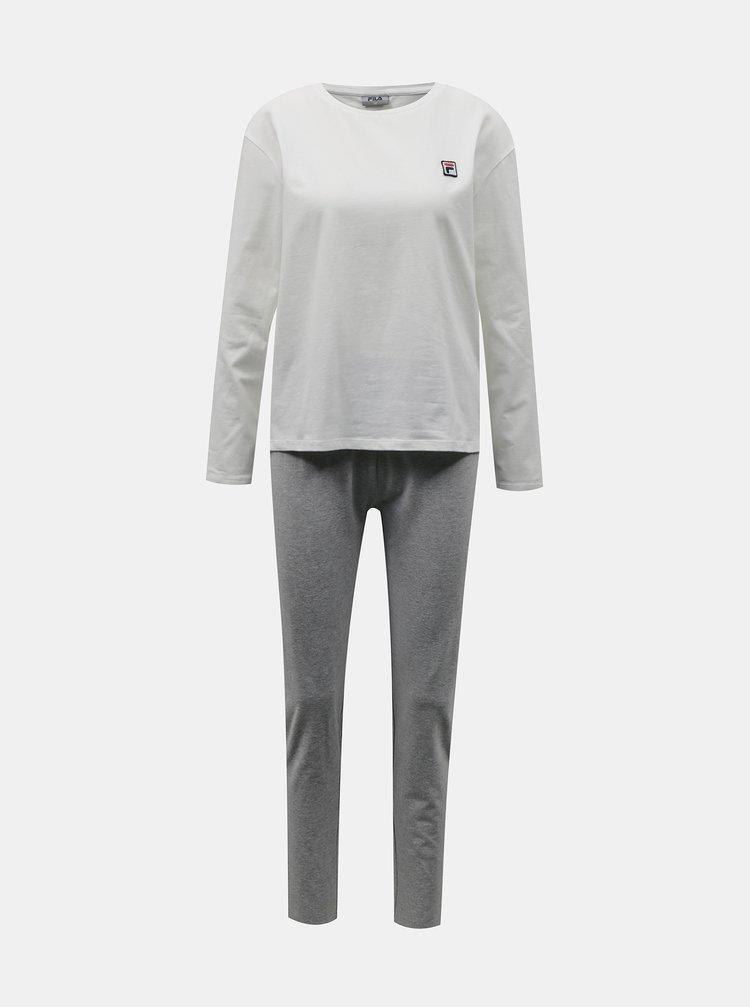 Bílo-šedé dámské pyžamo FILA