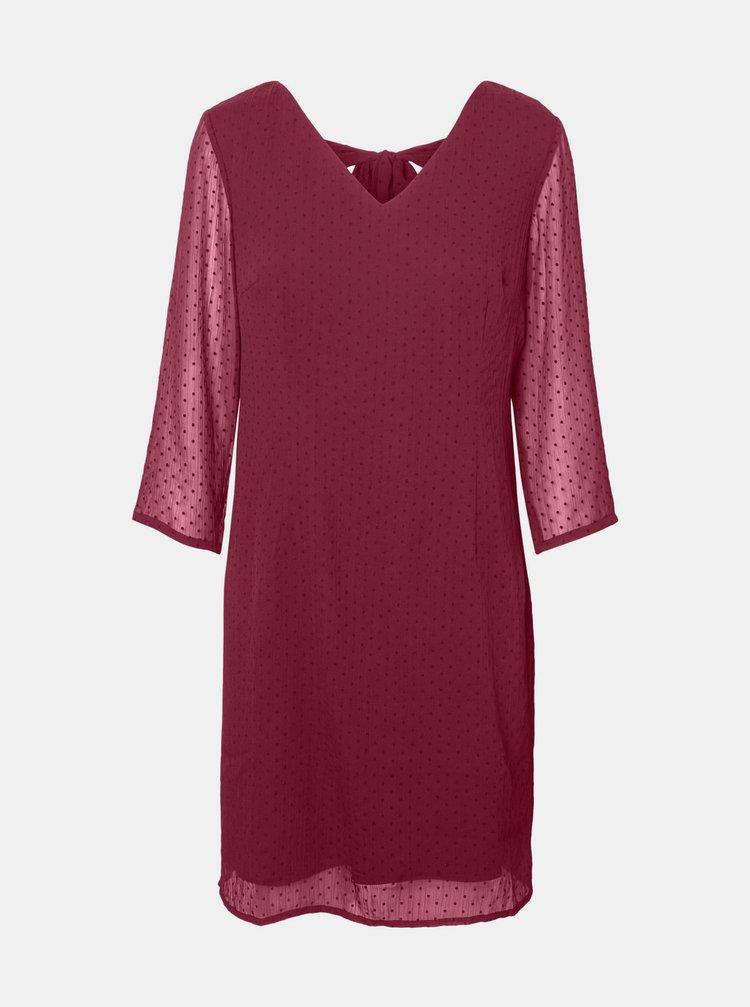 Tmavě růžové puntíkované šaty VERO MODA