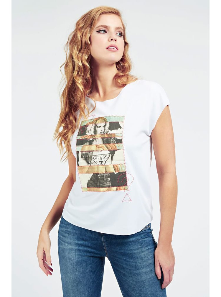 Guess bílé tričko Placed Print