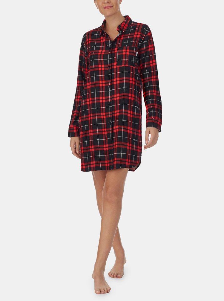 Červená kockovaná nočná košeľa DKNY