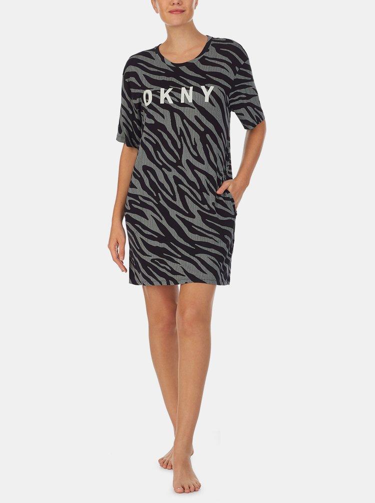 Čierno-šedá vzorovaná nočná košeľa DKNY
