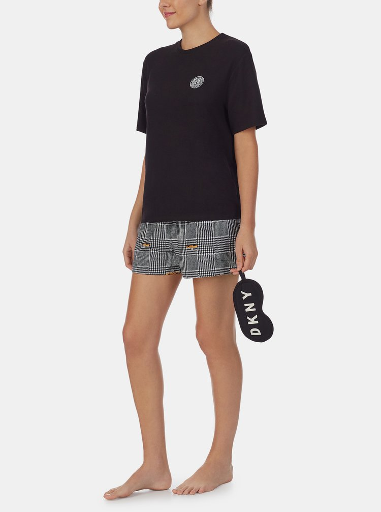 Černé vzorované pyžamo DKNY