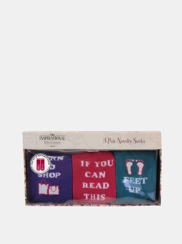Sada tří párů dámských ponožek v červené a zelené barvě Something Special