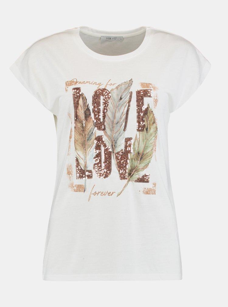 Bílé tričko s potiskem Hailys
