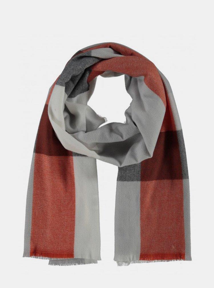 Červeno-šedý kockovaný šál Hailys