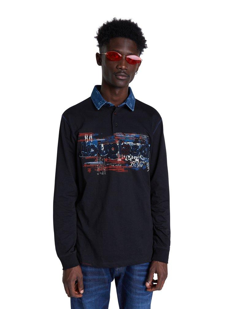 Desigual modré pánské tričko Polo Orson s logem
