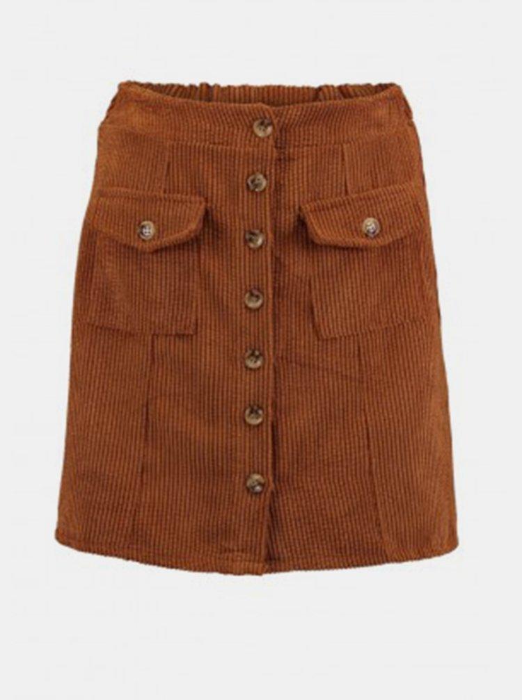 Hnedá menčestrová sukňa Hailys