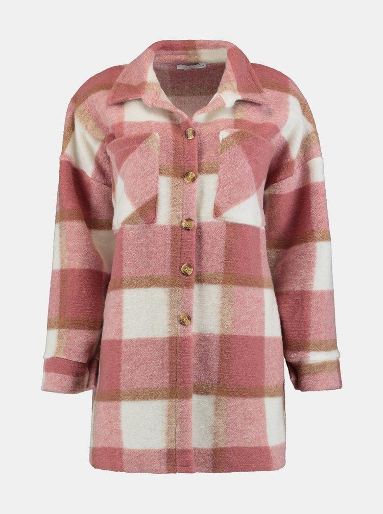 Růžová vlněná kostkovaná košile Hailys