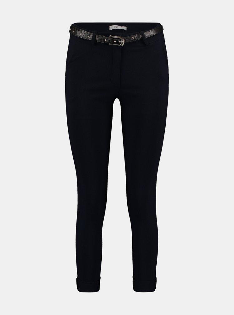 Tmavě modré skinny fit kalhoty s páskem Hailys