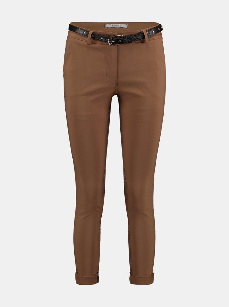 Hnědé skinny fit kalhoty s páskem Hailys