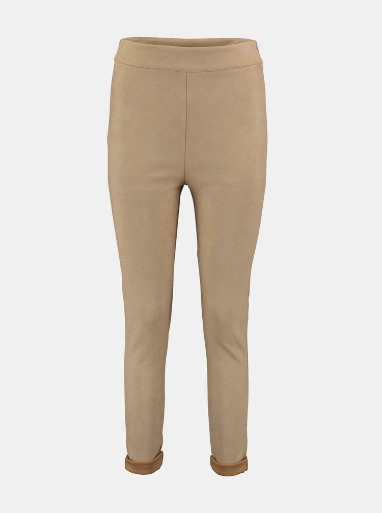 Béžové skinny fit kalhoty v semišové úpravě Hailys