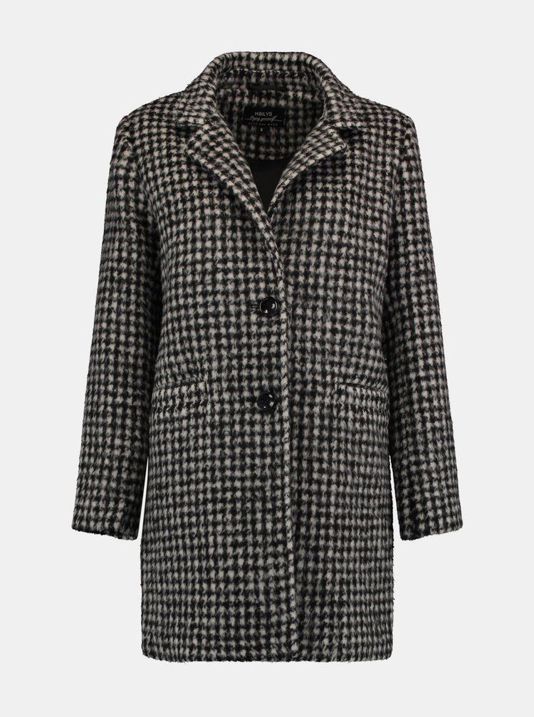 Šedý kostkovaný kabát Hailys