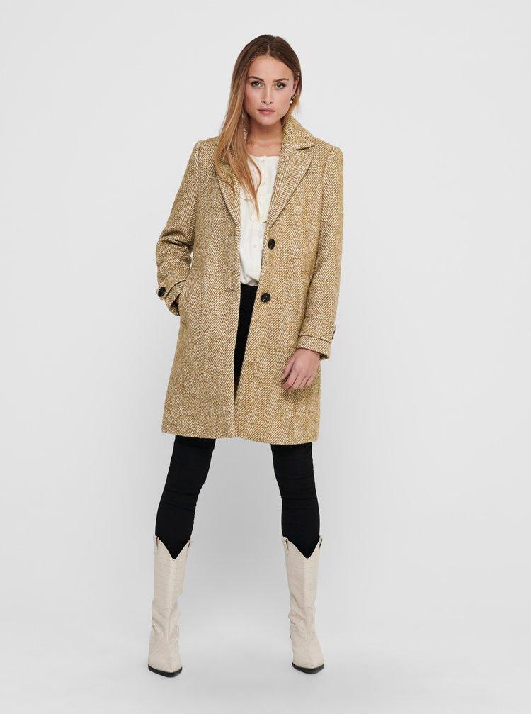 Béžový vlnený kabát ONLY Penny
