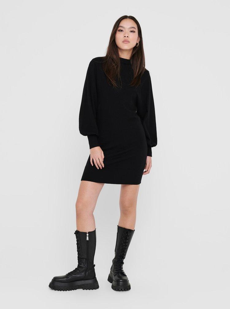 Čierne svetrové šaty ONLY Abelle