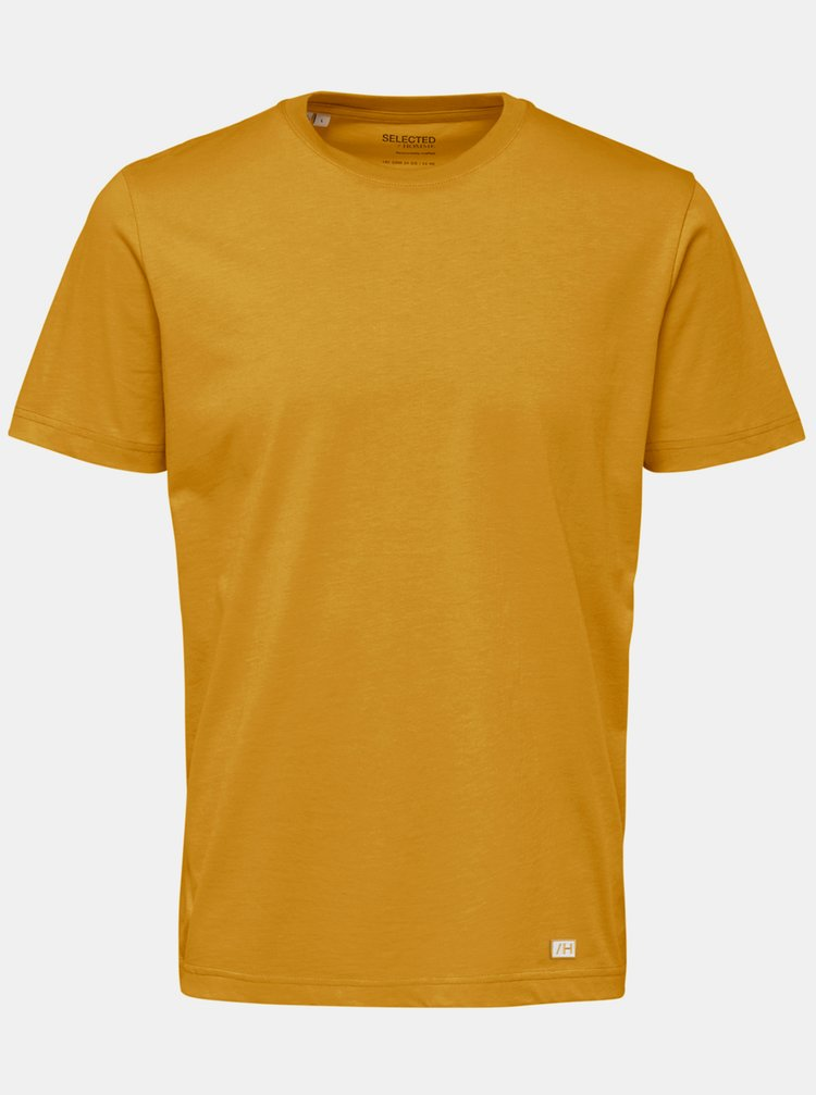 Žlté basic tričko Selected Homme