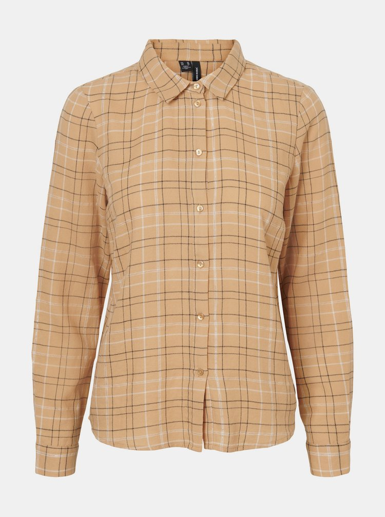 Béžová kostkovaná košile VERO MODA