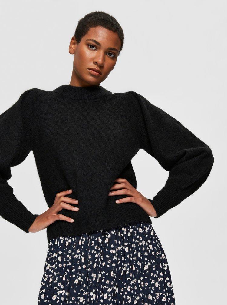 Černý svetr s příměsí vlny z alpaky Selected Femme